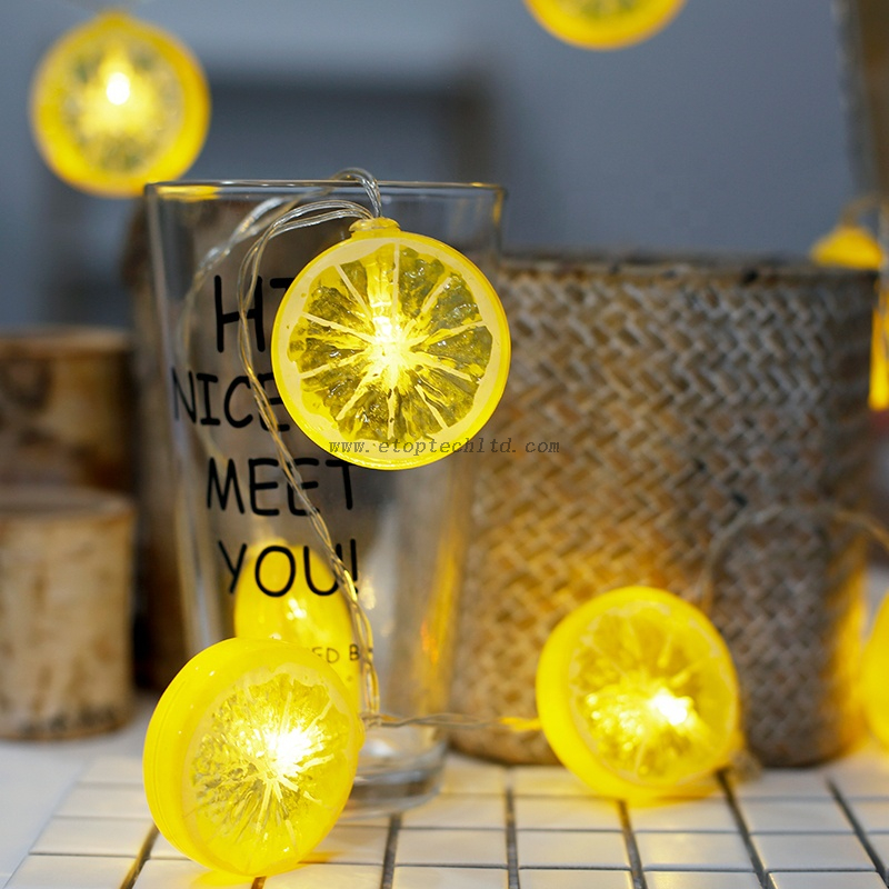 LED String Lights Novely Lemon Christmas Decorative Festival Holiday Lights Party Garden Home Lights Decoration Gift