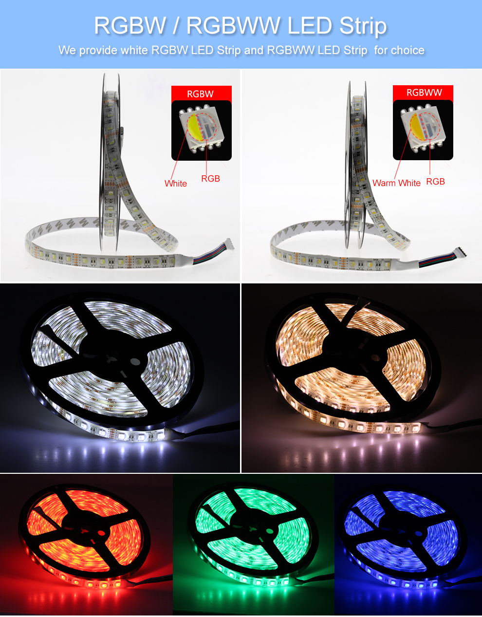 LED Lights Strip 5050 RGBW DC12V Flexible Lighting Rope Manufacturer