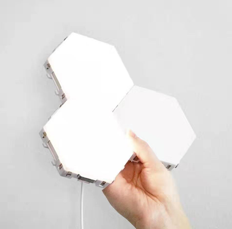 Decorative Modular Lamp White Touch Control Sensitive Magnetic Wall Hexagon Led Panel Light